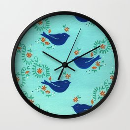 Blue Fiesta Bird Wall Clock