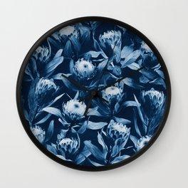 Evening Proteas - Denim Blue Wall Clock