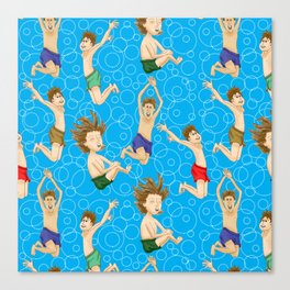 Swimming Fun at the Pond Pattern Canvas Print