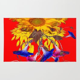 Morning Glories, Sunflowers Red Abstract Rug
