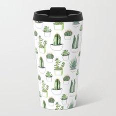 watercolour cacti and succulent Metal Travel Mug