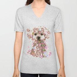 Vintage doggy Bichon frise.DISCOVER Unisex V-Neck