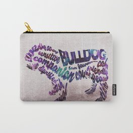 Bulldog Typography Art / Watercolor Painting Carry-All Pouch