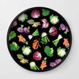 Black veggies pattern | Vegetables illustration pattern Wall Clock