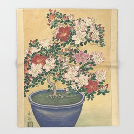 Blooming azalea in blue pot - Ohara Koson (1920 - 1930) Throw Blanket