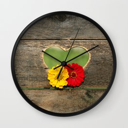 Wooden Heart with Flowers Wall Clock