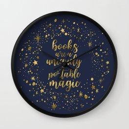 Books Are a Uniquely Portable Magic (Gold) Wall Clock