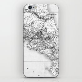 Vintage Map of Costa Rica (1903) BW iPhone Skin
