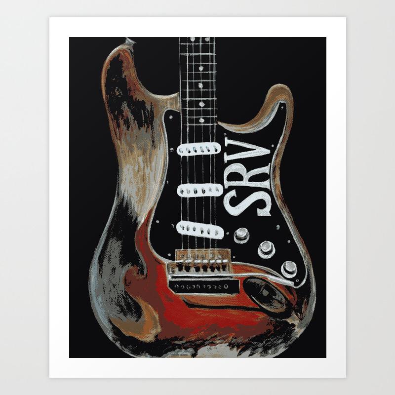 Stevie Ray Vaughan's Guitar Art Print by Emilymorrisart PRN4411988