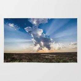 Explosion - Sunbeams Burst From Behind Storm Cloud in Kansas Rug