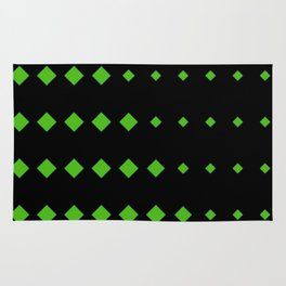 Kelly Green Diamonds w/Black Background Rug
