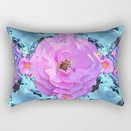 PINK ROSES & AQUA MARCH GEMS ART Rectangular Pillow