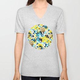 Happy Yellow Flower Collage Unisex V-Neck