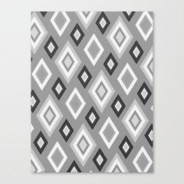 Diamond pattern - monochrome Canvas Print
