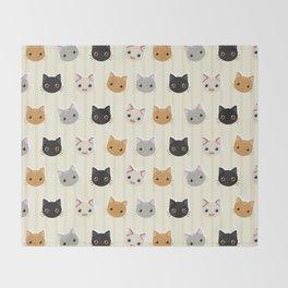Cute Kitten & Stripes Pattern Throw Blanket