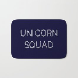 Unicorn Squad - Navy Blue and White Bath Mat