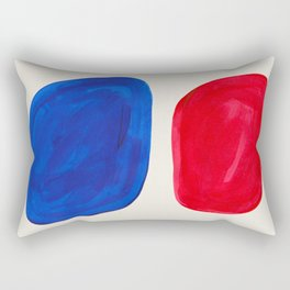 Mid Century Modern Retro Minimalist Colorful Shapes Phthalo Blue Red Rothko Pebbles Rectangular Pillow