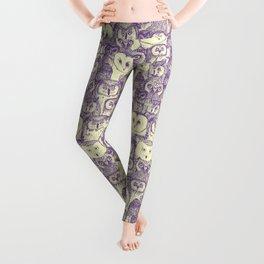 just owls purple cream Leggings