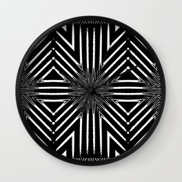 Tribal Black and White African-Inspired Pattern Wall Clock