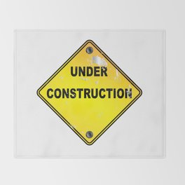 Yellow Under Construction Sign Throw Blanket