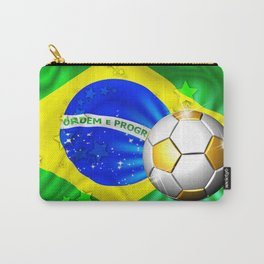 Brazil Flag Gold Green and Soccer Ball Carry-All Pouch