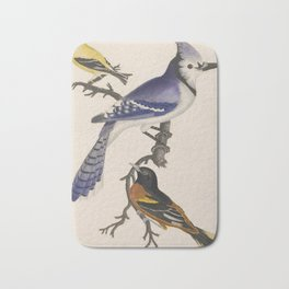 Blue jay, goldfinch, and Baltimore oriole - American ornithology - ALexander Wilson - 1829 Bath Mat