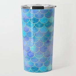 Aqua Pearlescent & Gold Mermaid Scale Pattern Travel Mug