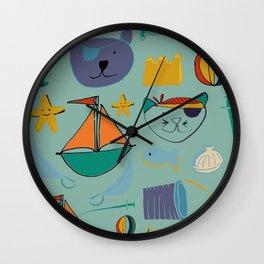 cat and bear at the beach blue green Wall Clock