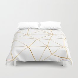 gold polygon on white Duvet Cover