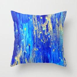 Gold & blue abstract d171013 Throw Pillow