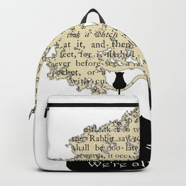 We're All Mad Here II - Alice In Wonderland Silhouette Art Backpack