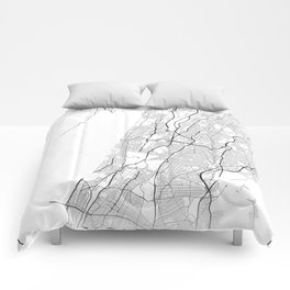 Minimal City Maps - Map Of Yonkers, New York, United States Comforters
