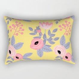 Yellow Floral Pattern Rectangular Pillow