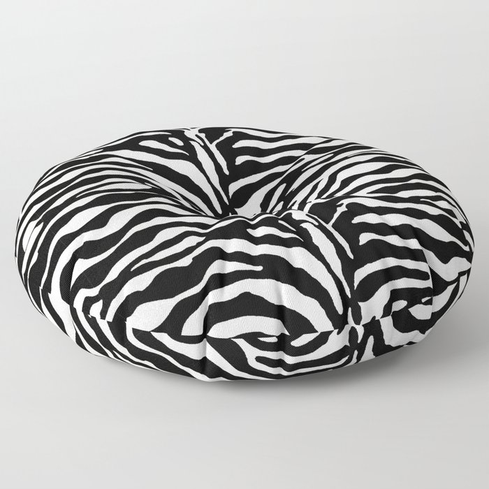 Wild Animal Print, Zebra in Black and White Floor Pillow