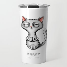 yoga cat sukhasana Travel Mug