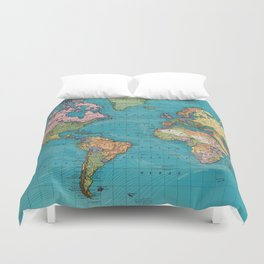 Vintage Map of The World (1897) Duvet Cover