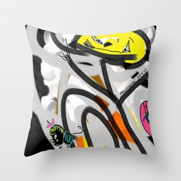 The Cat, The Bee & The Eye Throw Pillow