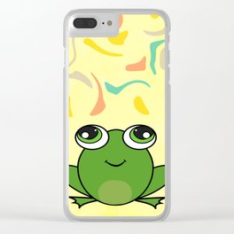 Cute frog looking up Clear iPhone Case