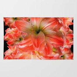 Black-Red Amaryllis Floral Pattern Rug