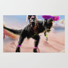 Pug Riding Dinosaur With Chicken Nuggets And Cola Rug