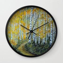 Birch Aspen Trees, Impressionism Landscape Painting, Autumn Colors Wall Clock