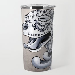 Ornamental Pit Bull - Black and Grey Filigree Pitbull Travel Mug
