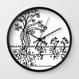 Strong Roots - Black and White Wall Clock
