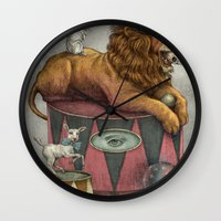 leon Wall Clocks featuring El Leon by julian de narvaez