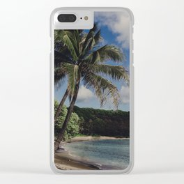 Hawaii Haze - Tropical Beach with Palm Trees Clear iPhone Case