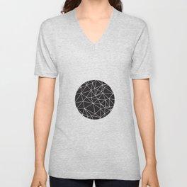 Black and White Geometric Circle Unisex V-Neck
