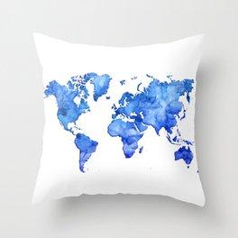 Cobalt blue watercolor world map Throw Pillow
