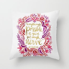 Anything's Possible – Gold & Red Throw Pillow
