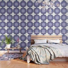 blue grey white pink purple mandala Wallpaper