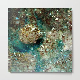 SPARKLING GOLD AND TURQUOISE CRYSTAL Metal Print